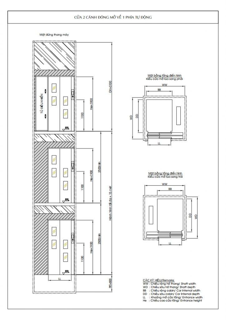 Bản vẽ kỹ thuật hố thang trong thang máy gia đình 3